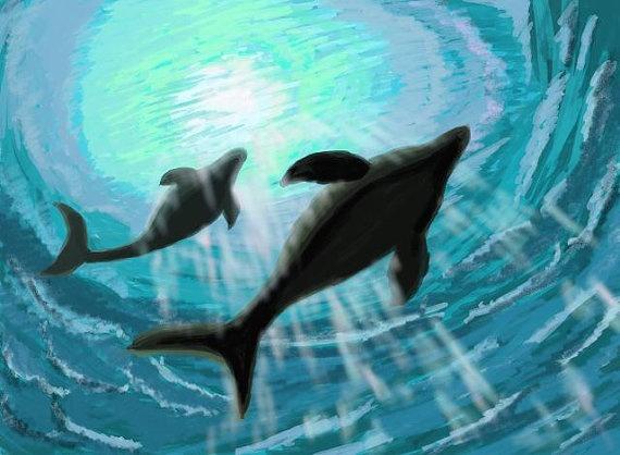 DOLPHINS Cute Dolphin Couple Kids Room Decor By MurumuruArt On Etsy