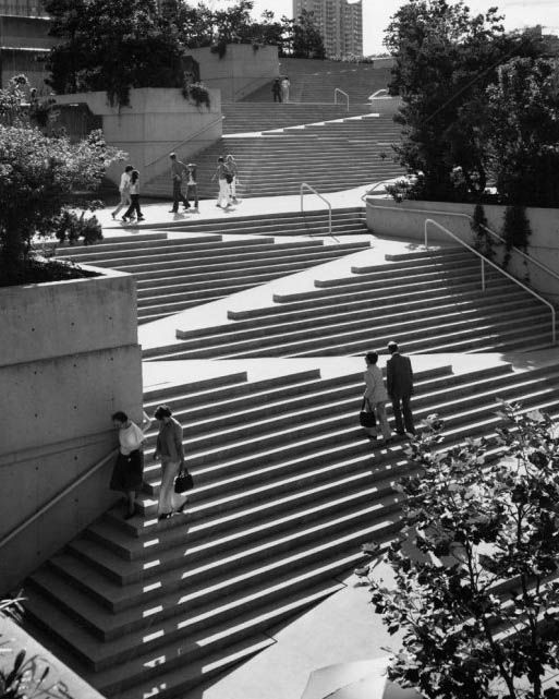 Brilliant ramp-in-staircase at Robson Square, a civic centre and public plaza in Vancouver, Canada.