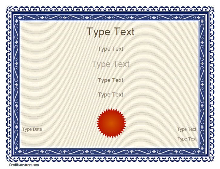 Free Certificate Templates | Blank Certificates - Free Printable Certificates - CertificateStreet ...