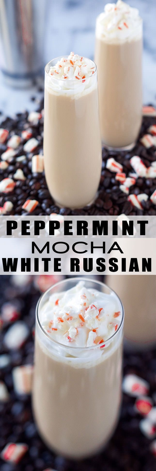 This Peppermint Mocha White Russian is a festive cocktail! The classic drink with a peppermint and chocolate twist!