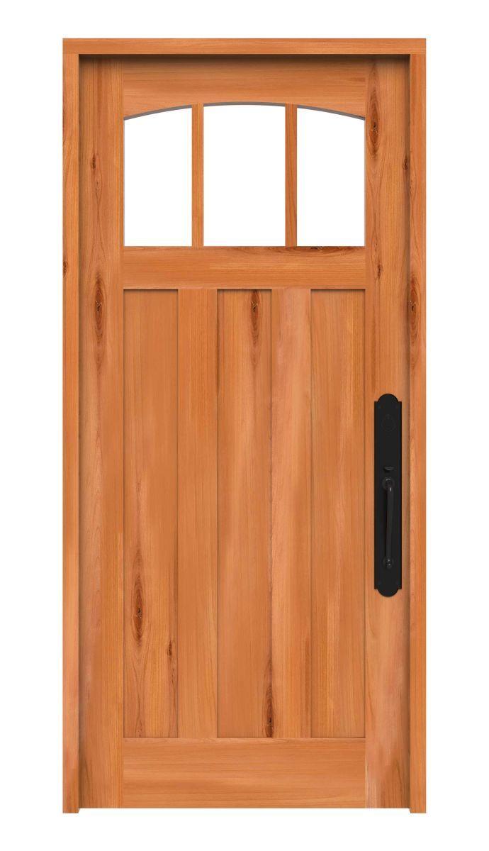 3 Panel Exterior Door With Arched Windows Rustica Hardware Exterior Doors Arched Windows Wood Entry Doors