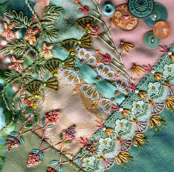 I dropped the button box - crazy quilt block 11 - OMG! I WANT TO LEARN HOW TO EMBROIDER LIKE THIS!