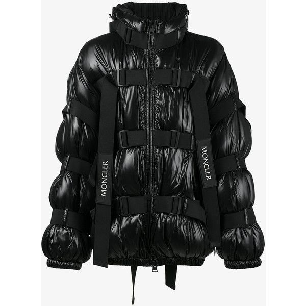 Moncler C kabal strap jacket ($2,060) ❤ liked on Polyvore featuring men's fashion, men's clothing, men's outerwear, men's jackets, moncler mens jacket, mens oversized denim jacket, mens fur lined hooded jacket, mens fleece lined jacket and mens hooded puffer jacket