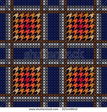 Seamless checkered plaid. Abstract geometric background. Retro textile collection. Blue, red.