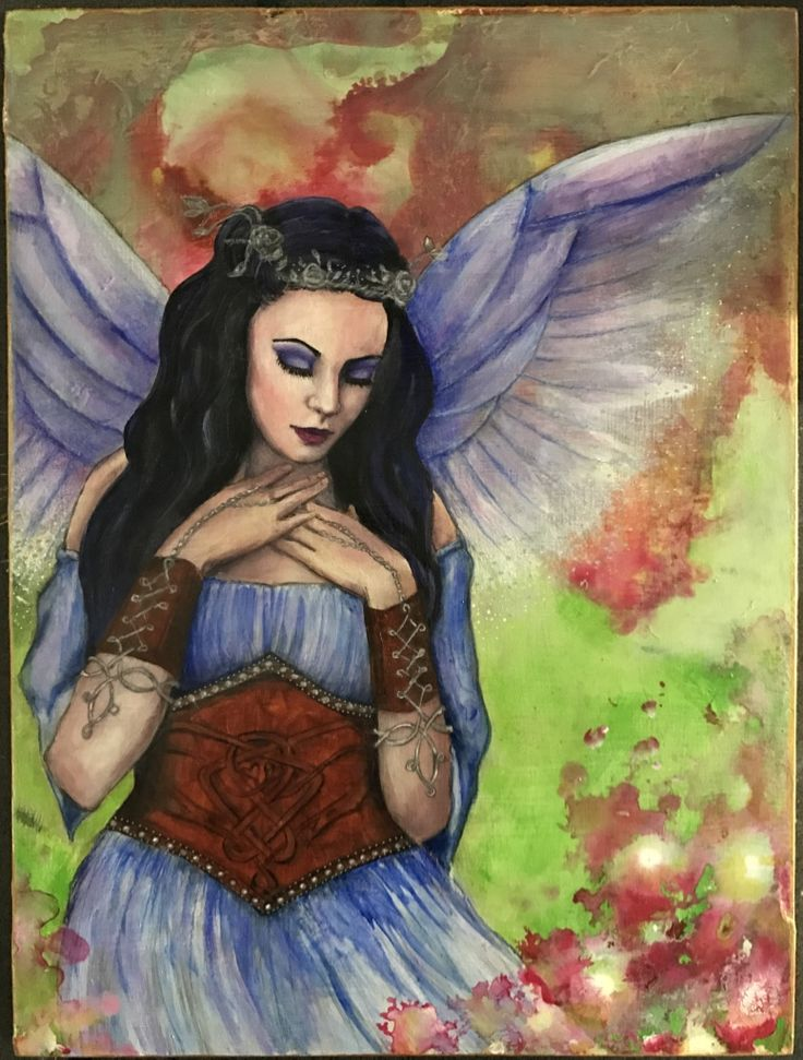#fairies acrylic and mixed media fairy painting