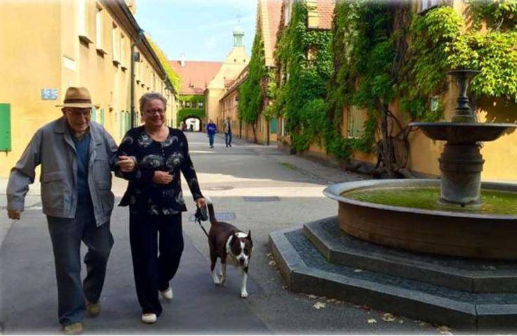 Banqueiro Jakob Fugger criou há quase 500 anos a comunidade de Fuggerei. Ela cobra 1 dólar de aluguel de pessoas carentes. Baviera, Alemanha.