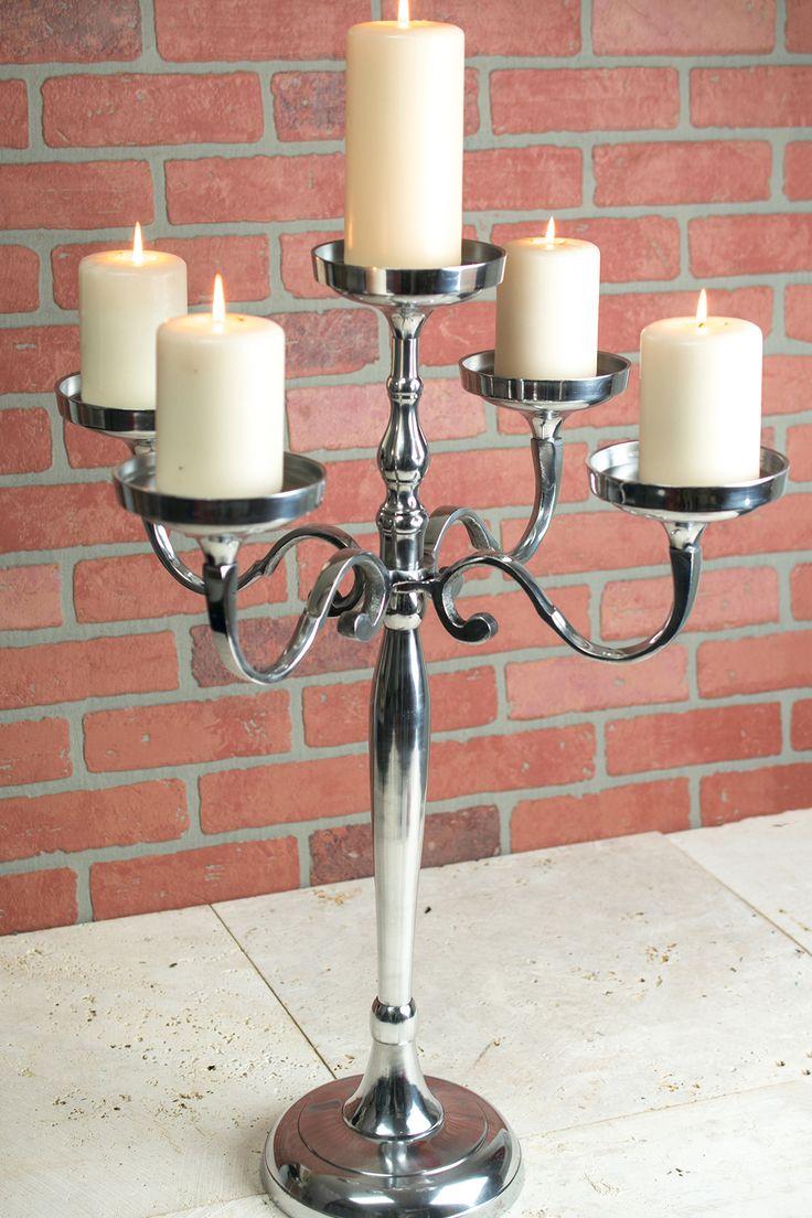 Pillar Candle Holder Candelabra 5 Arm 26in Silver Glass Candle Holders Candles Candle Holders