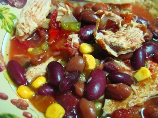 Low Fat Crock Pot Chicken Taco Soup  INGREDIENTS  SERVINGS 8-10  1 1⁄2 cups vegetable broth 1 1⁄2 lbs boneless skinless chicken breasts 2 (16 ounce) cans pinto beans, rinsed and drained 2 (16 ounce) cans kidney beans, rinsed and drained 1 1⁄2 cups frozen corn 1 1⁄2 cups frozen okra 1 (10 ounce) can Rotel tomatoes & chilies 1 (14 1/2 ounce) can Mexican-style tomatoes 2 (14 1/2 ounce) cans no-salt-added diced tomatoes 1 red pepper, chopped 1 green pepper, chopped 2 cups celery, chopped 1…