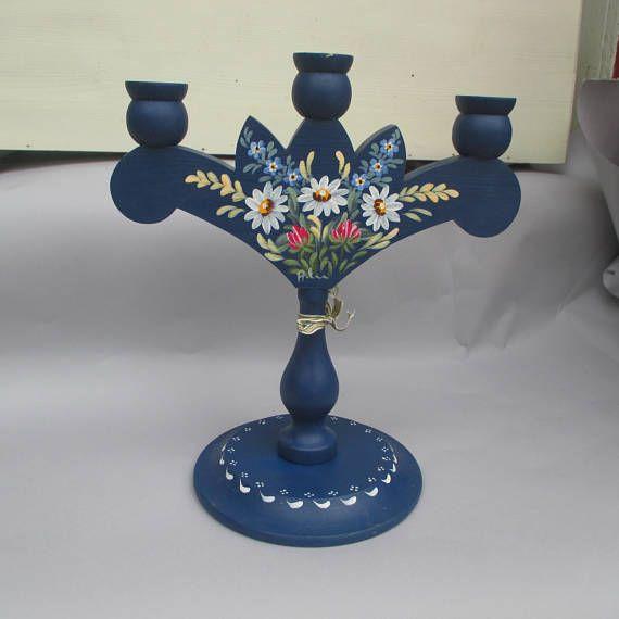 Three-arm candlestick. Flower Retro Sweden