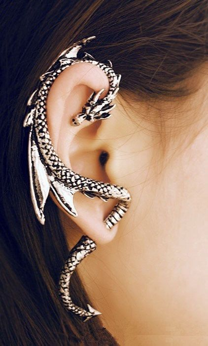 Gothic Style Dragon Cuff Earring with post by JewelryByStevieboy