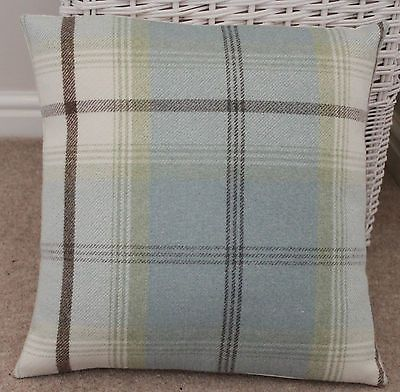 "PORTER & STONE BALMORAL TARTAN CHECK CUSHION COVER DUCK EGG BLUE 16"" x 16"""