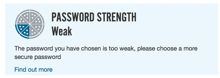 Dominos password strength indicator is a pizza