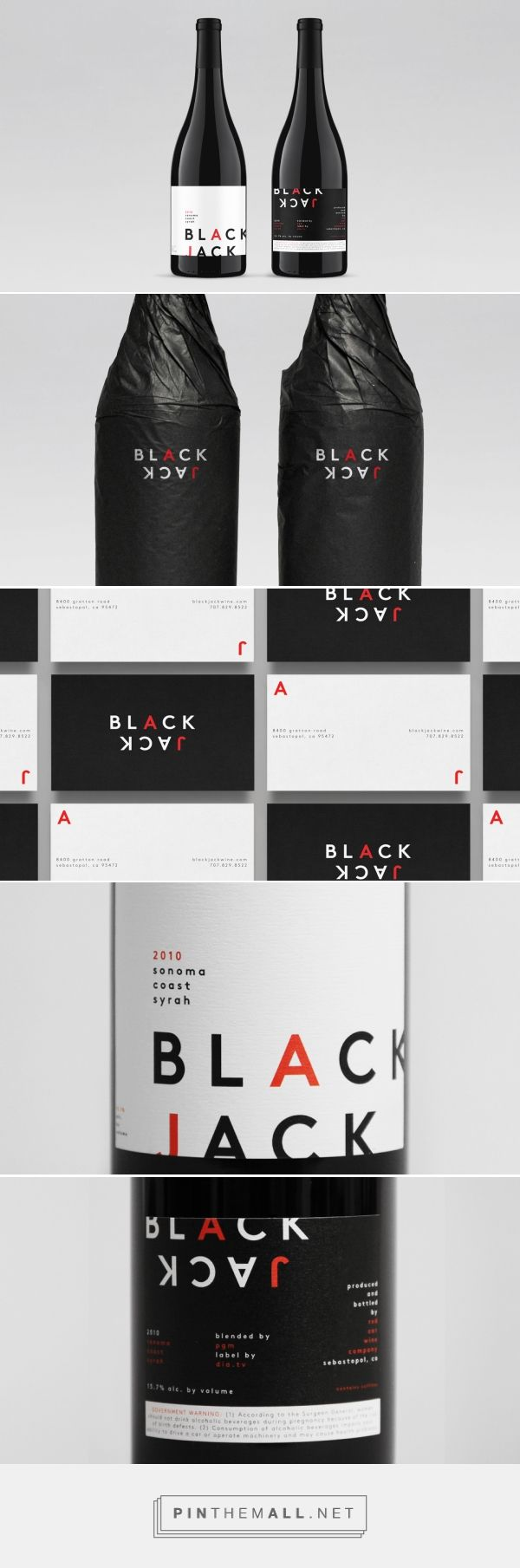 Black Jack — DIA — curated by Packaging Diva PD. Very clever packaging branding for a new wine label. Rightside up upside down PD created via http://dia.tv/black-jack/