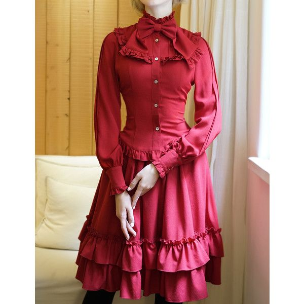 Gothic Vintage Long Sleeves Dress Shirt Preppy Blouse Bowie ❤ liked on Polyvore featuring tops, blouses, bow collar blouse, pussy bow blouses, vintage dress shirts, long sleeve tops and red long sleeve top