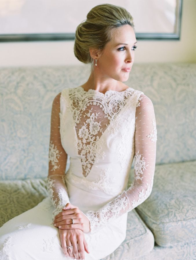 Lace long sleeve plunging neckline with illusion lace wedding dress: http://www.stylemepretty.com/2017/03/07/at-home-backyard-dallas-wedding/ Photography: Becca Lea - http://beccalea.com/