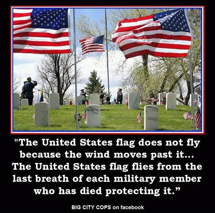 Old Glory Waves because the Warriors of Our Land gave their blood and breath!  Remember them now ... they were thinking of you then.