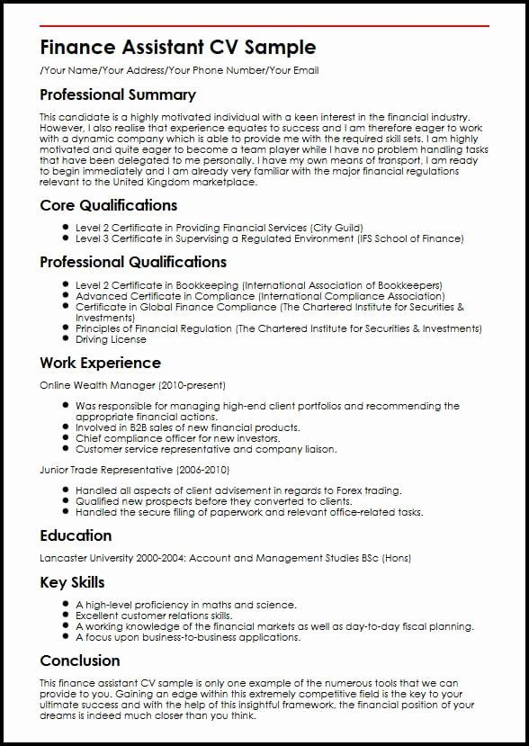 Automotive Finance Manager Resume New Finance Assistant Cv Sample In 2020 Cover Letter For Resume Manager Resume Job Resume Samples