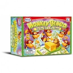 Load the sixteen animal tiles into the crate and have each player choose one of eight two-sided bingo cards and nine monkey chips. Now the fun begins! The designated caller pushes the little monkey towards the crate and out pops one animal tile with two colorful animals pictured on it. The name of each animal is called out and if a player has one of them on their card, they put a monkey chip over its picture. The first player to get three animals in a row or fill their card is the winner!