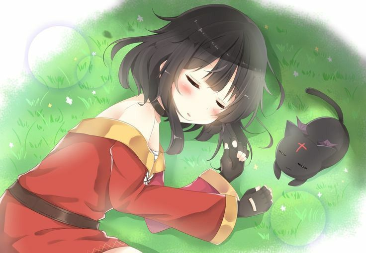 Megumin Sleeping With Chomusuke Anime Anime Characters Character Illustration