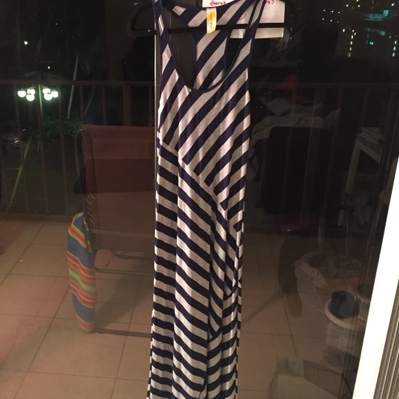 Striped maxi dress Blue and grey striped maxi. Perfect condition Lily Bleu Beach Dresses