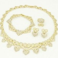 Wish | Dubai 2016 High Quality Luxury Jewelry 18K Gold-plated Heart-shaped Crystal Ornaments Jewelry Bridal Jewelry Africa Saudi Arabia (Color: Gold)