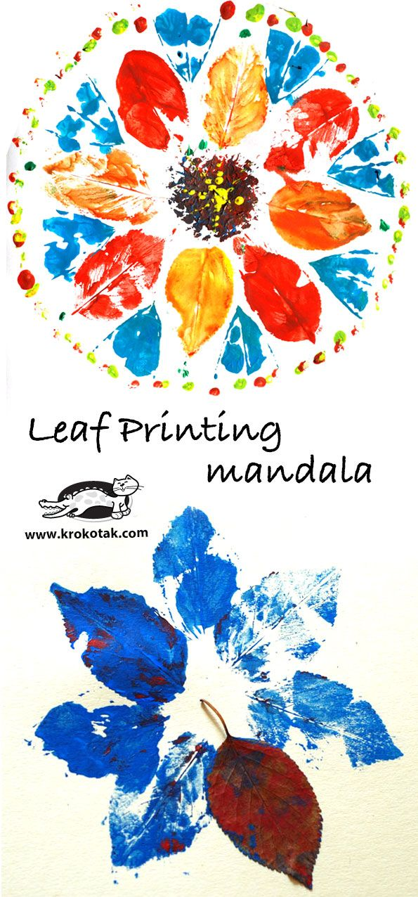 leaf printing mandala for kids art activity