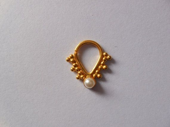Gold Plated indian Septum ring for Pierced nose with pearl - Very cute Nose ring-Gold nosetrill- Nose Ring- nose jewellry - free shiping