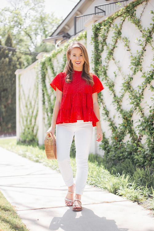 f7c7ef96f063 Pin by ~ Kim Young ~ on Paint the Town Red in 2019   Eyelet top, Preppy  summer outfits, Classy outfits