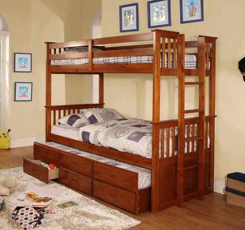 For the boys room: Youth Twin over Twin Warm Oak Bunk Bed with Twin Trundle and Drawers