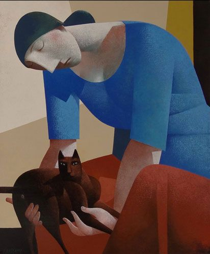 made by: Peter Harskamp , 'Zittende vrouw met dikke kat' (Sitting woman with a fat cat) - Painting