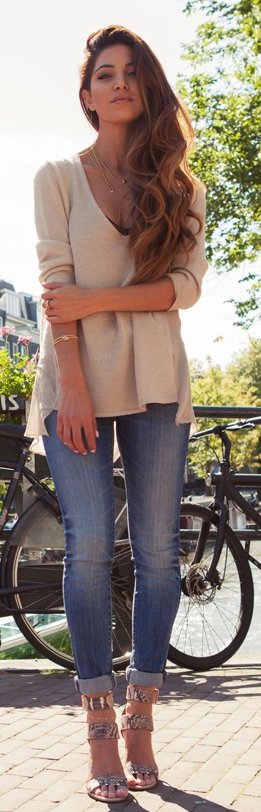 Beige Knit Semi Sheer V-neck Pullover by Negin Mirsalehi. So cute with the distressed jeans and gold jewelry