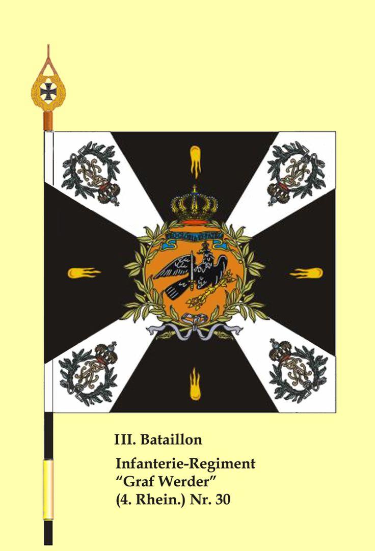 """Fahne 30InfRgt III.Btl - Régiment d'infanterie """"Grafwerder"""" (4ème Rheinisches) n ° 30 - Wikipédia"""
