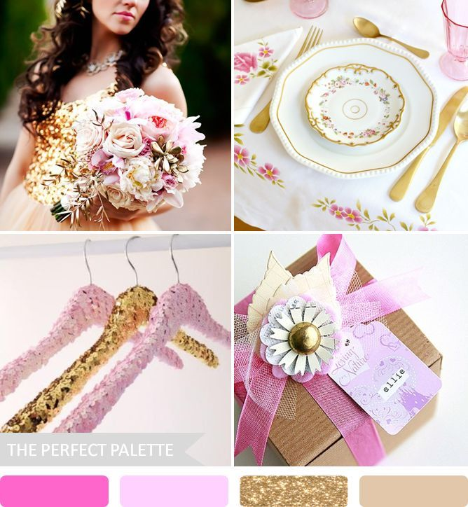 Pink + Gliterry Gold The Perfect Palette: 10 Wedding Color Palettes That Aren't Boring!