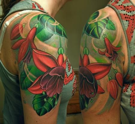 Tim Senecal - Fuchsia flowers #tattoo