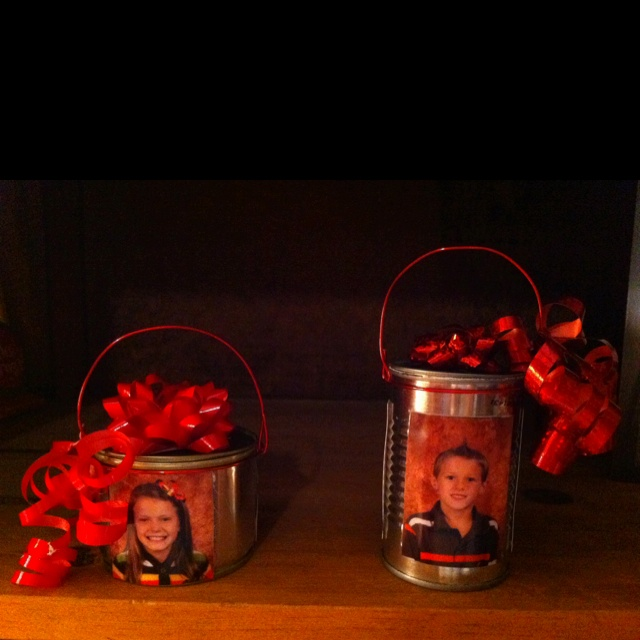 Valentines gift containers made from food cans opened with a pampered chef can opener.
