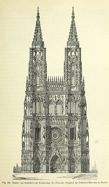 Schinkel's design for the completed Cathedral, Strasbourg