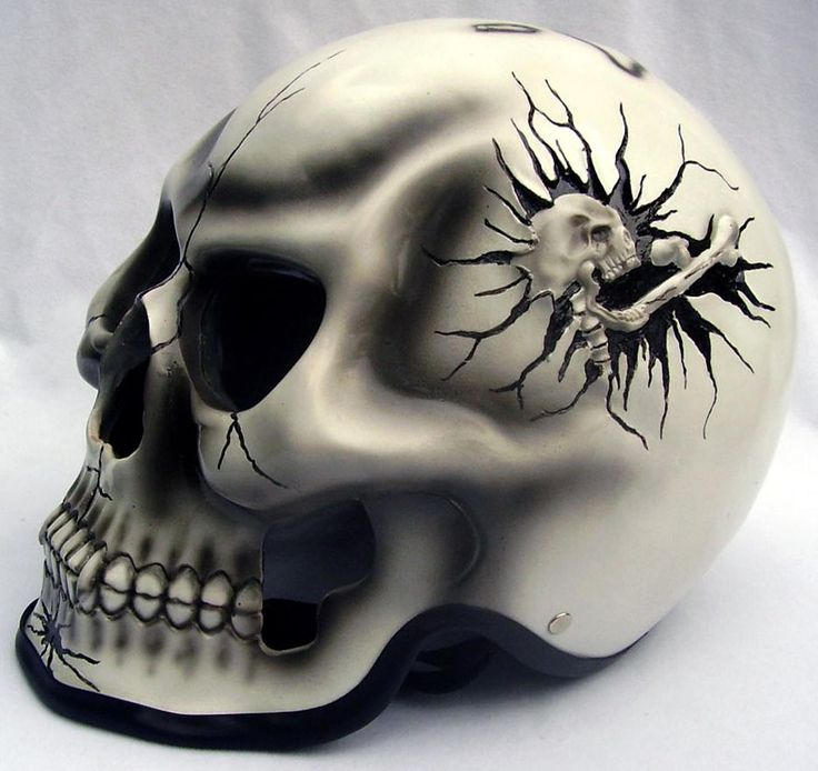 custom painted Motorcycle Helmets | Skull Motorcycle Helmet Designs Custom Painted Pictures