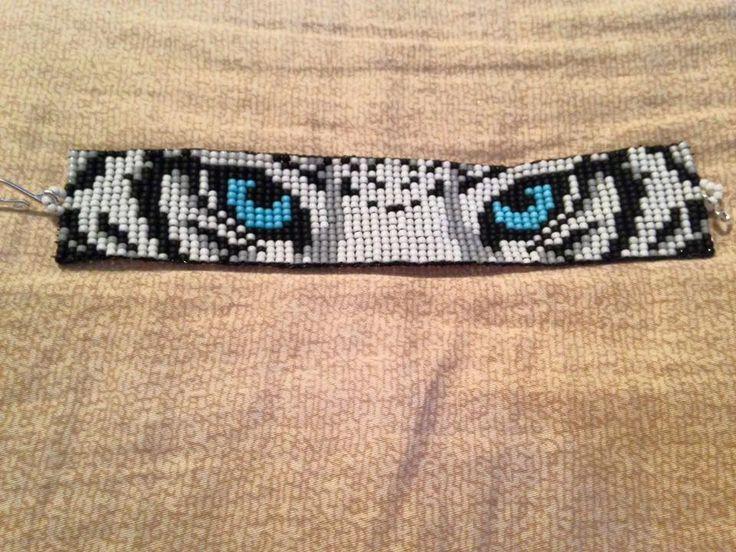 White Tiger Eyes Seed Bead Bracelet beaded от BeadedPinktopia