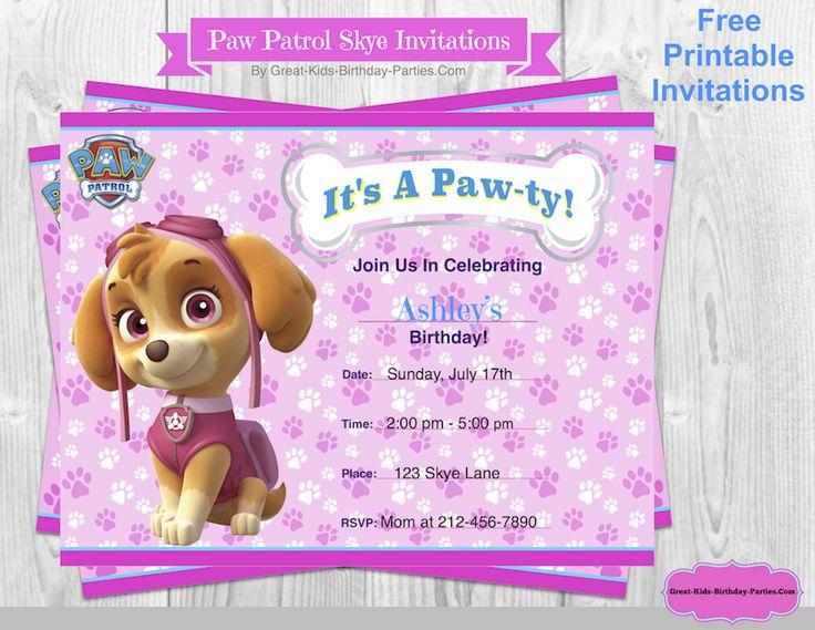 Free Paw Patrol Birthday invitations at Great-Kids-Birthday-Parties.Com.