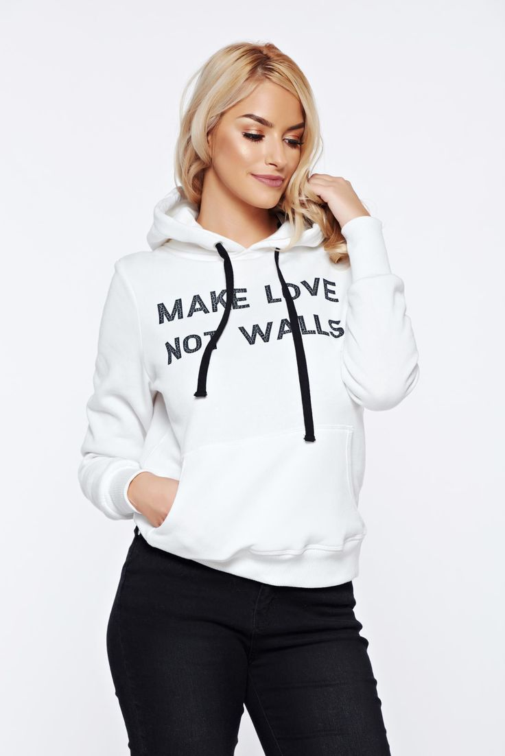 Top Secret white casual sporty cotton hoodie, women hoodie, laced details, soft fabric, front pockets, undetachable hood