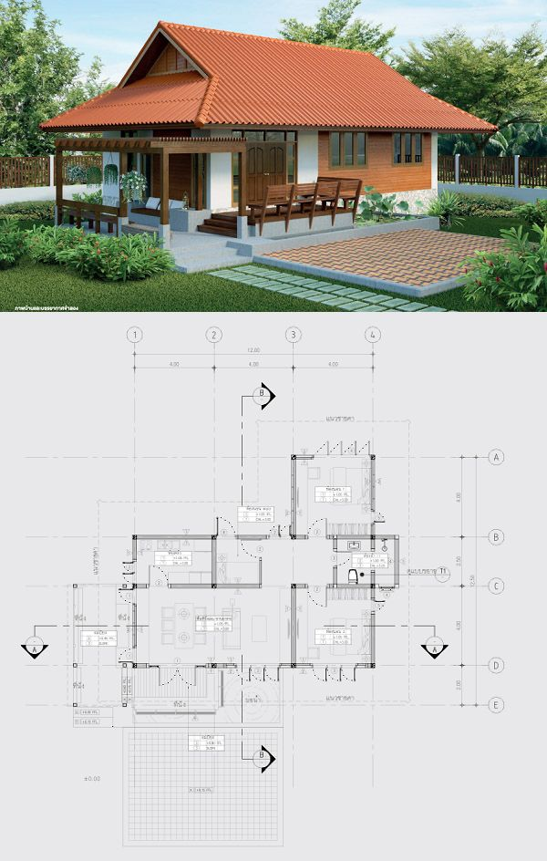 Simple Thai Contemporary Concrete And Wood House Concrete House House In The Woods House Floor Plans