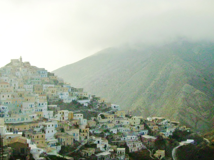 Olympos, clouds touch the village even  during the summer. Karpathos island