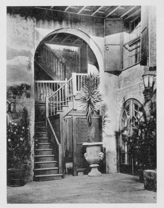 Old courtyard of WDSU-TV where my mother used to work. Door to the right of the stairs used to be her office.