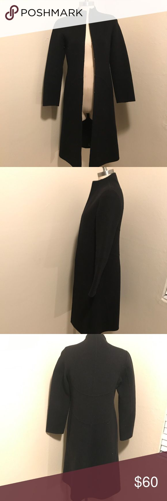 DKNY 100% wool women's clasp trench coat size 2 DKNY women's size 2 100% wool black long sleep center front clasp Closure trench coat Dkny Jackets & Coats Trench Coats
