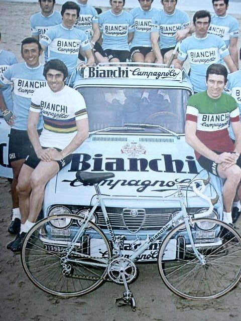 Team Bianchi Campagnolo 1973:  Close up World Champion Marino Basso and Italian Champion Felice Gimondi...