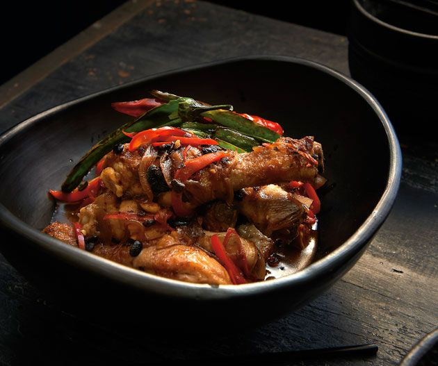 Kylie Kwong's Braised chicken drumsticks with black bean and chilli. Photograph © Earl Carter.