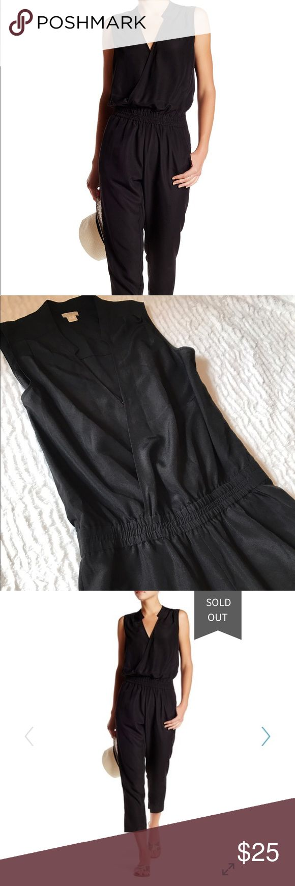 J.Crew Factory Black Jump Suit V neck black jump suit with cinched elastic waist band. J. Crew Factory Pants Jumpsuits & Rompers
