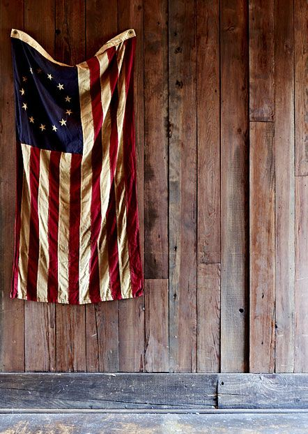Rustic red, white and blue.