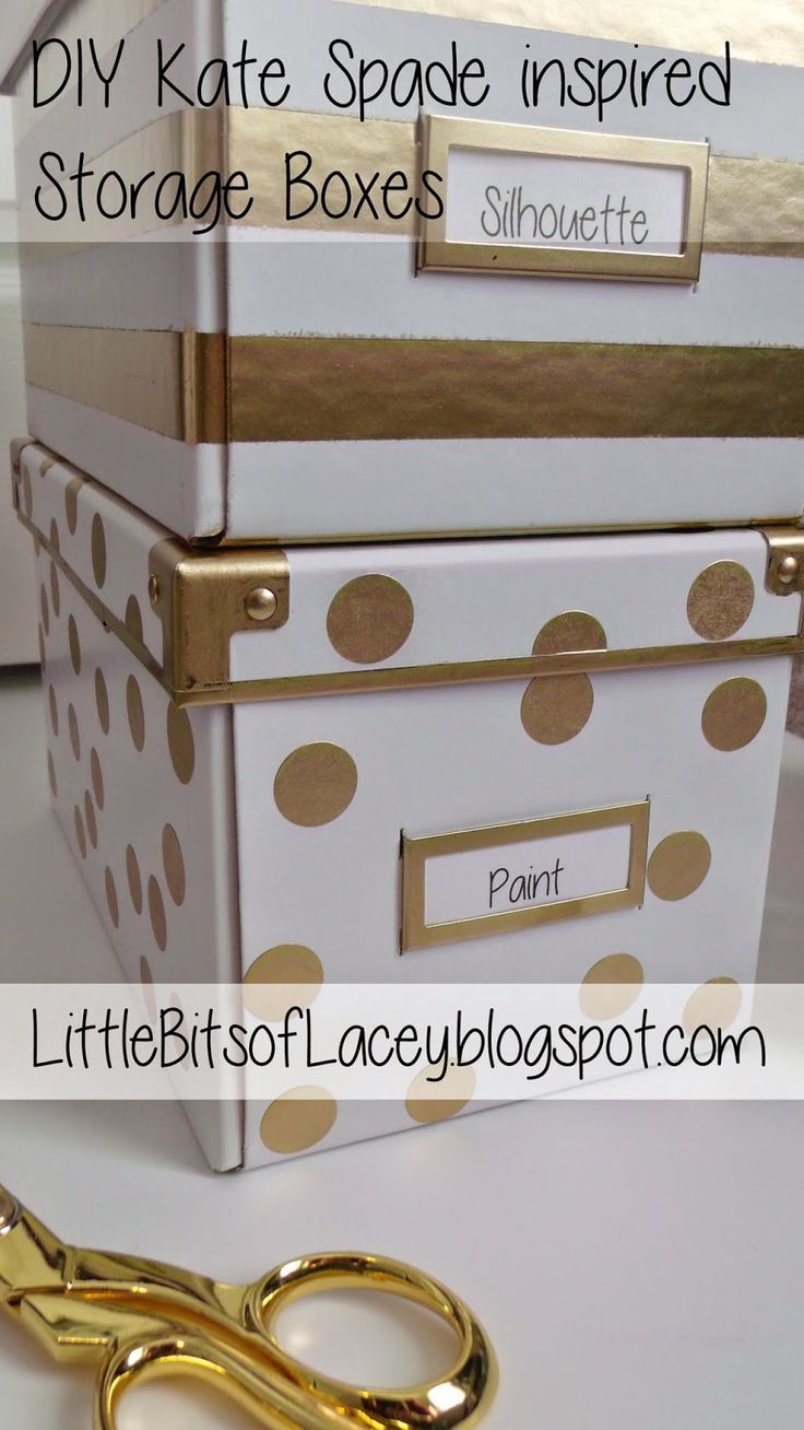 Ikea hack: DIY Kate Spade Inspired Storage Boxes for an organized home office with a little extra bling.