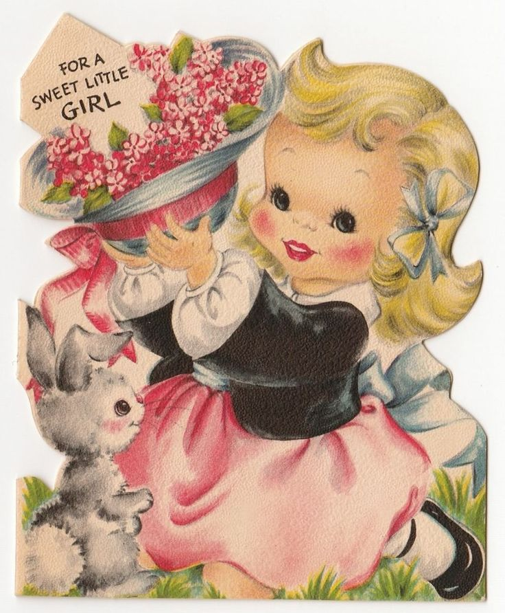 Vintage Greeting Card Easter Cute Little Girl Bunny Die-Cut Hallmark UNUSED a198